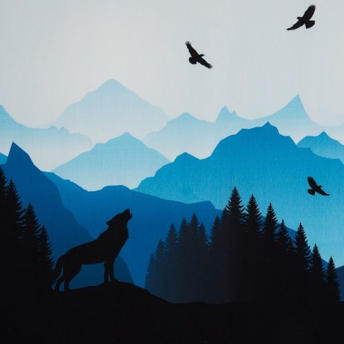 Vorbestellung: Wolf Moon by lycklig design, Sweat unangeraut, Bordüre, blau