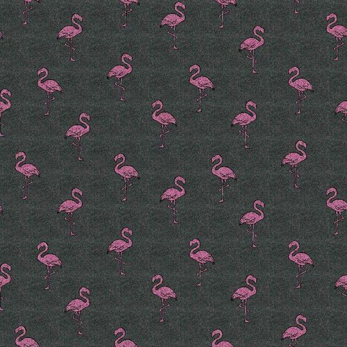 Glitzer Flamingo, French Terry, dunkelgrau-pink