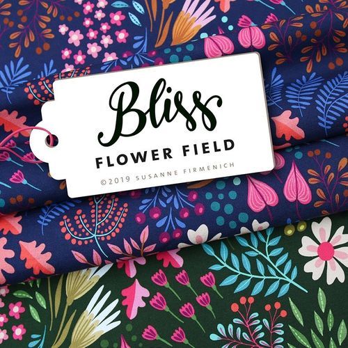 "Hamburger Liebe ""Bliss, Flower Field"" dunkelblau, Bio-Summersweat"