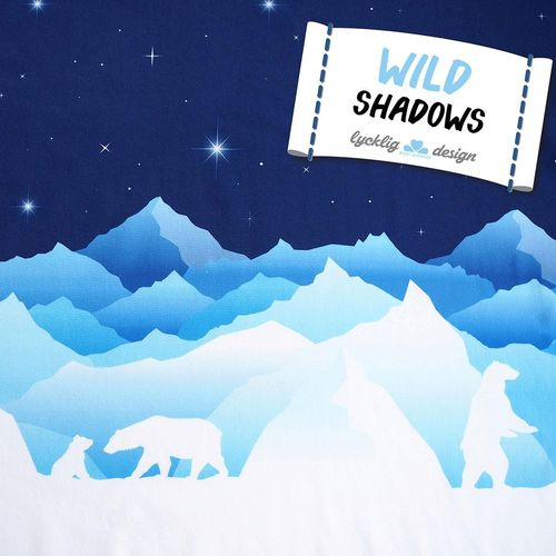Wild Shadows by lycklig design, Sweat unangeraut, Bordüre, blau Eisbär