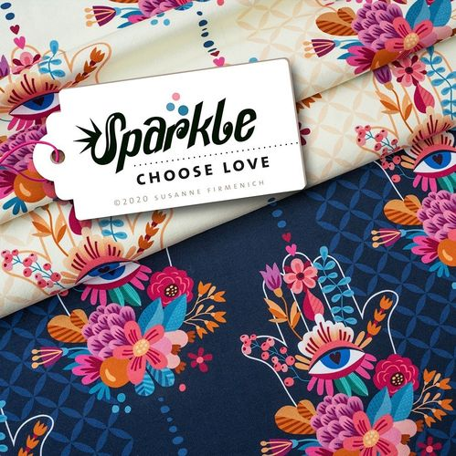 Sparkle - Choose Love Jersey creme, Hamburger Liebe, Albstoffe