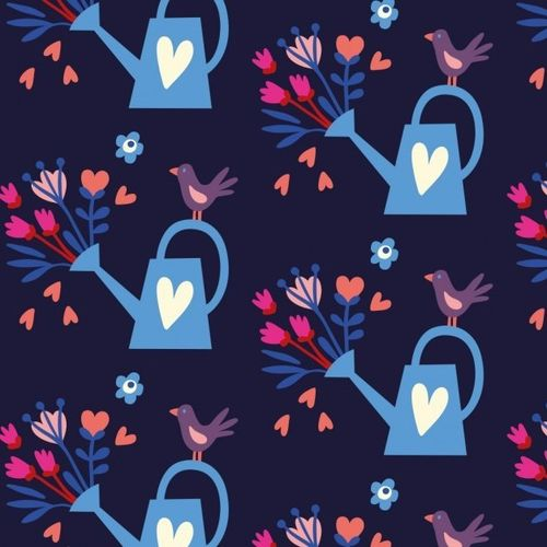 "Hamburger Liebe ""In my Garden"" - Pour out Love, Baumwoll Canvas, navy"