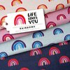 Life Loves You - Rainbows rosa, Bio-Jacquard, Hamburger Liebe, Albstoffe