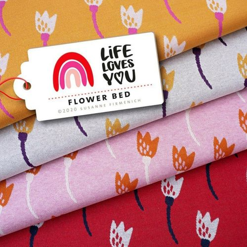Life Loves You - Flower Bed rot Bio-Jacquard, Hamburger Liebe, Albstoffe