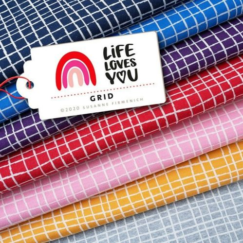 Life Loves You - Grid rosa, Bio-Jacquard, Hamburger Liebe, Albstoffe