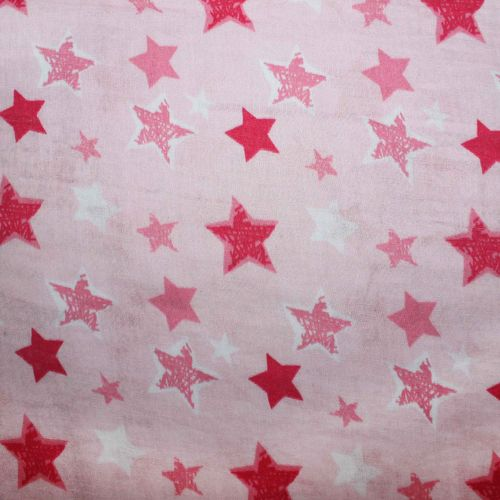 Musselin/Double Gauze, Sterne rosa/pink - REST 1,0m
