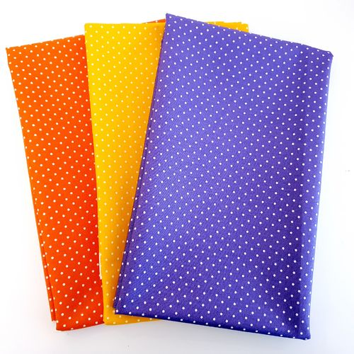 Nähpaket Baumwolle 3x 40cm - Mini dots (orange, gelb, violett)