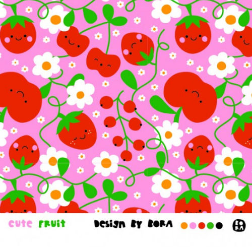 Cute Fruits, Bio-Jersey, bora, Lillestoff - REST 55cm